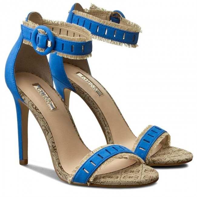 GUESS Petra Fringe Sandals Sandali con Frange Bicolore Blu e Beige a Punta Tacco 10 cm