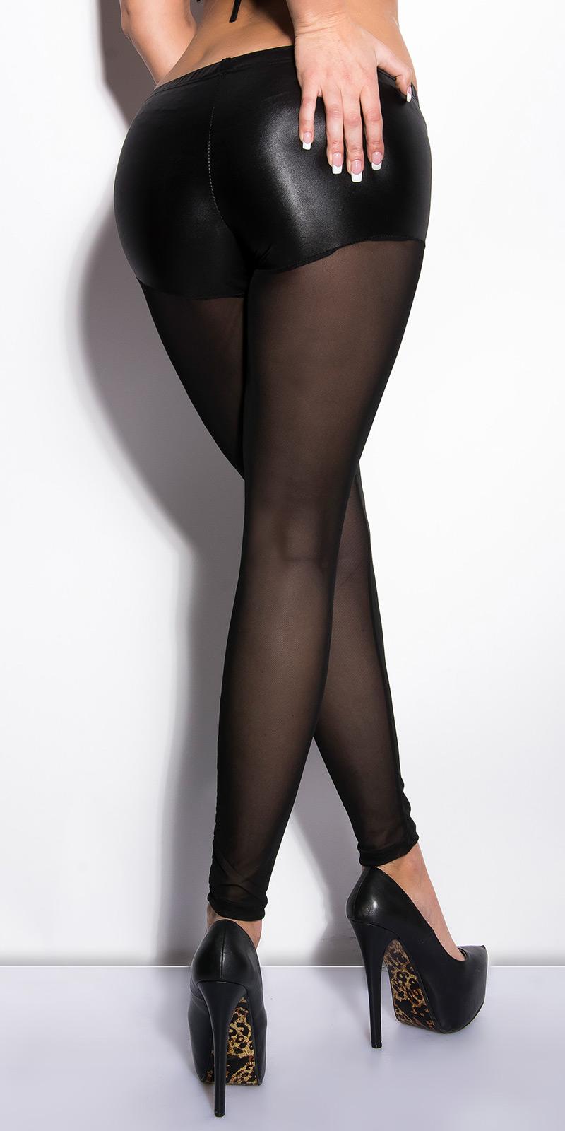 IN505271 Leggings Pantacollant a Short WetLook e Gambe Nude Velate in Microrete